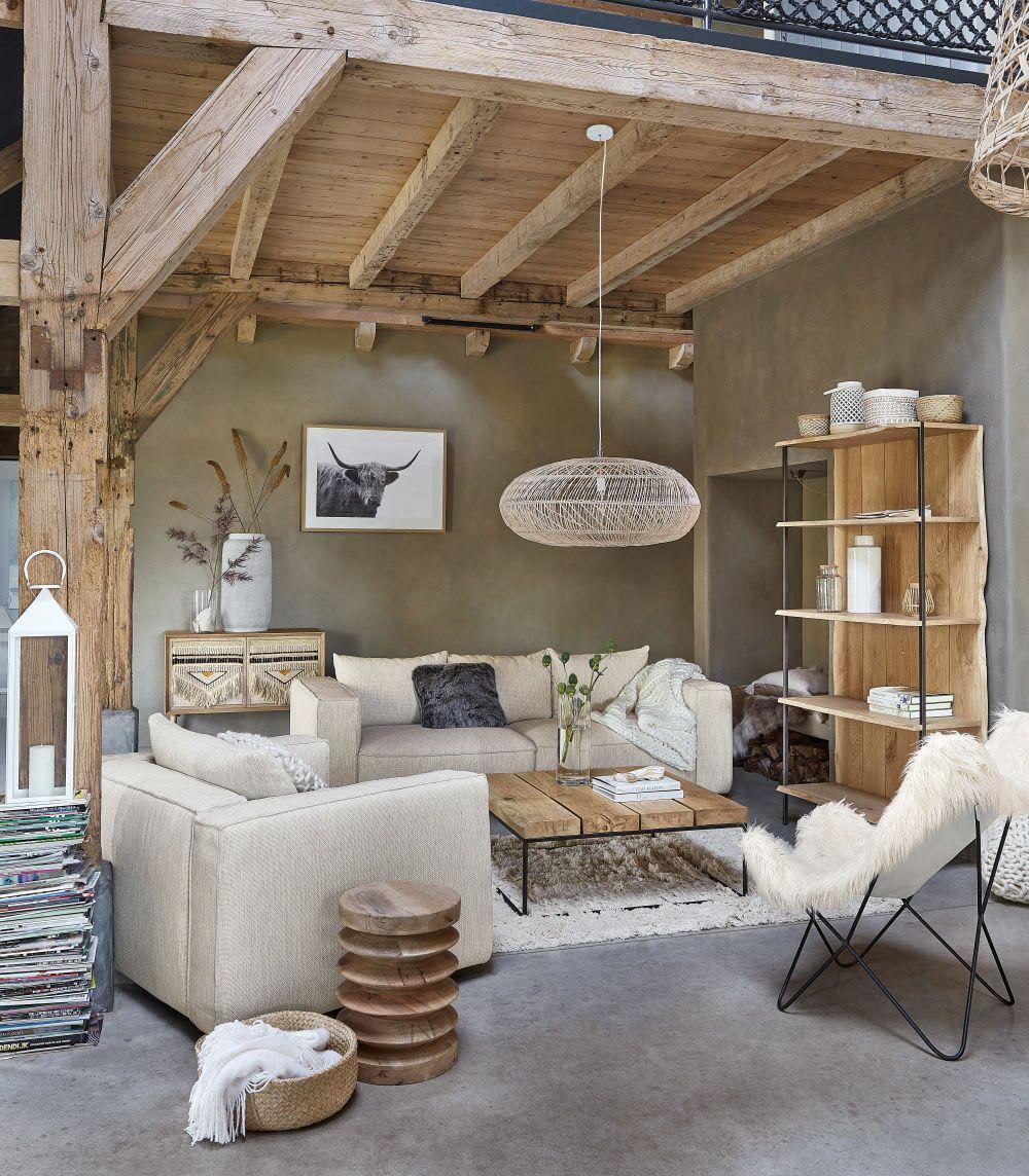 Table basse carrée en chêne massif et métal noir | Wohnung ...