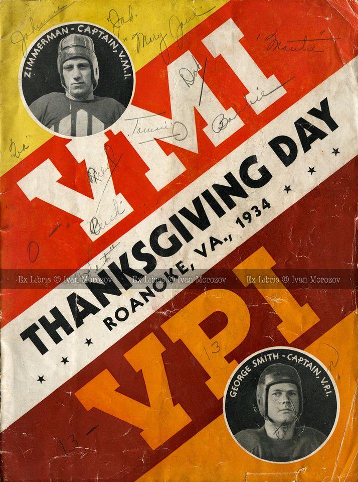 1934.11.29. Virginia Tech vs VMI. Vintage football program