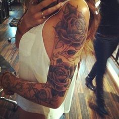 Black And White Rose Sleeve Tattoos For Women Google Search