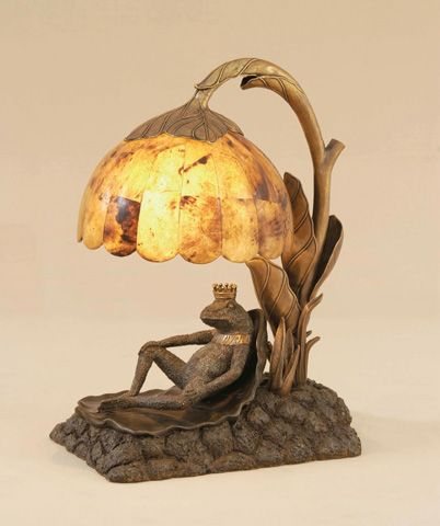 Image of Verdigris Brass Frog Prince Lamp