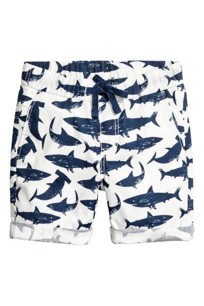 ca8d277aa9 Cotton shorts - White/Sharks - Kids | H&M GB stamp shark swim | Son ...