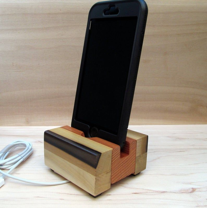 Rainbow iPhone stand phone dock wooden phone stand charging | Etsy