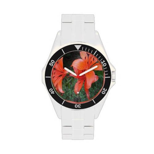 Lilies Orange Garden Wristwatches from Zazzle.com orange