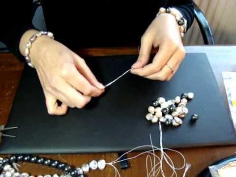 Como hacer un collar largo con nudos y sin cierre con hilo - Manualidades con hilo ...