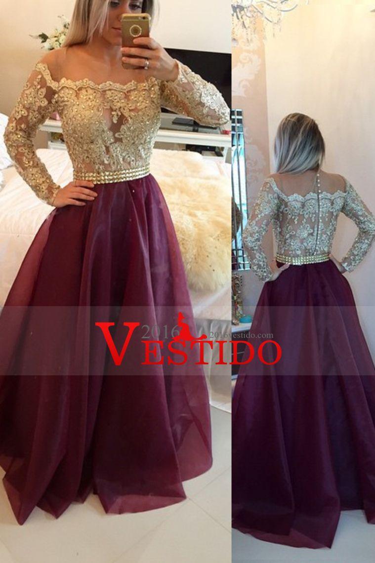 2016 vestidos de baile Scoop Una gasa de línea con apliques y los granos de longitud de mangas