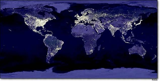 The lights of the world seen from space random stuff the earth at night light pollution sciox Choice Image