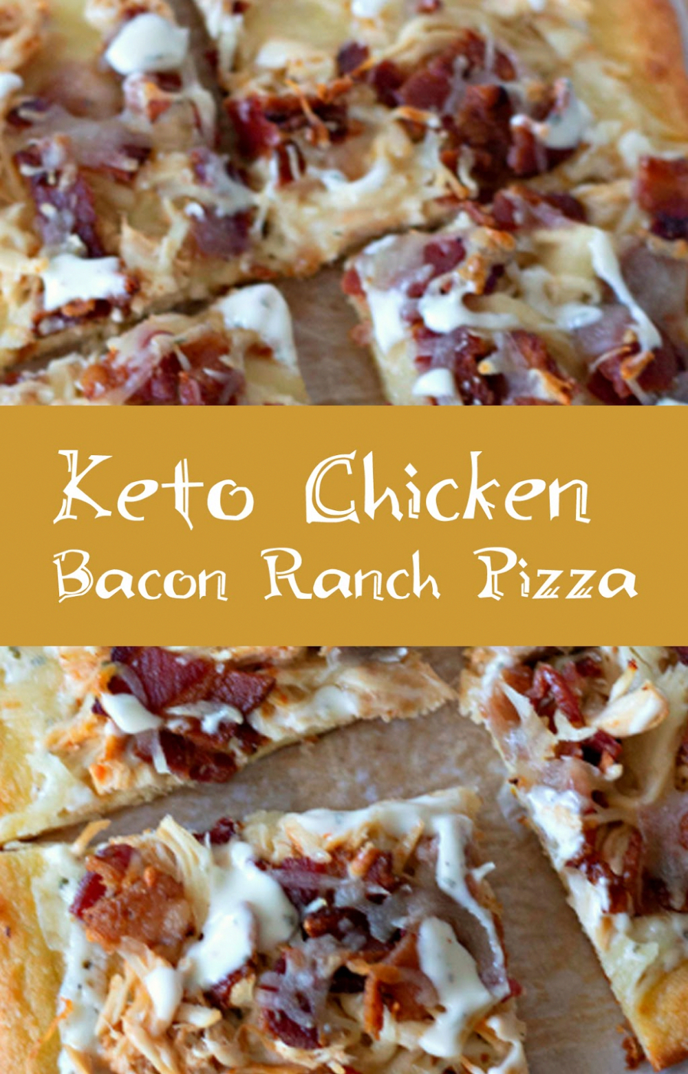 Chicken Bacon Ranch Pizza Recipe- ketogenic diet low carb pizza recipe. Soo good!! Easy keto dinner