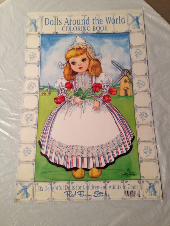 Large Red Farm Studio-Vintage-Dolls From Around the World Coloring ...