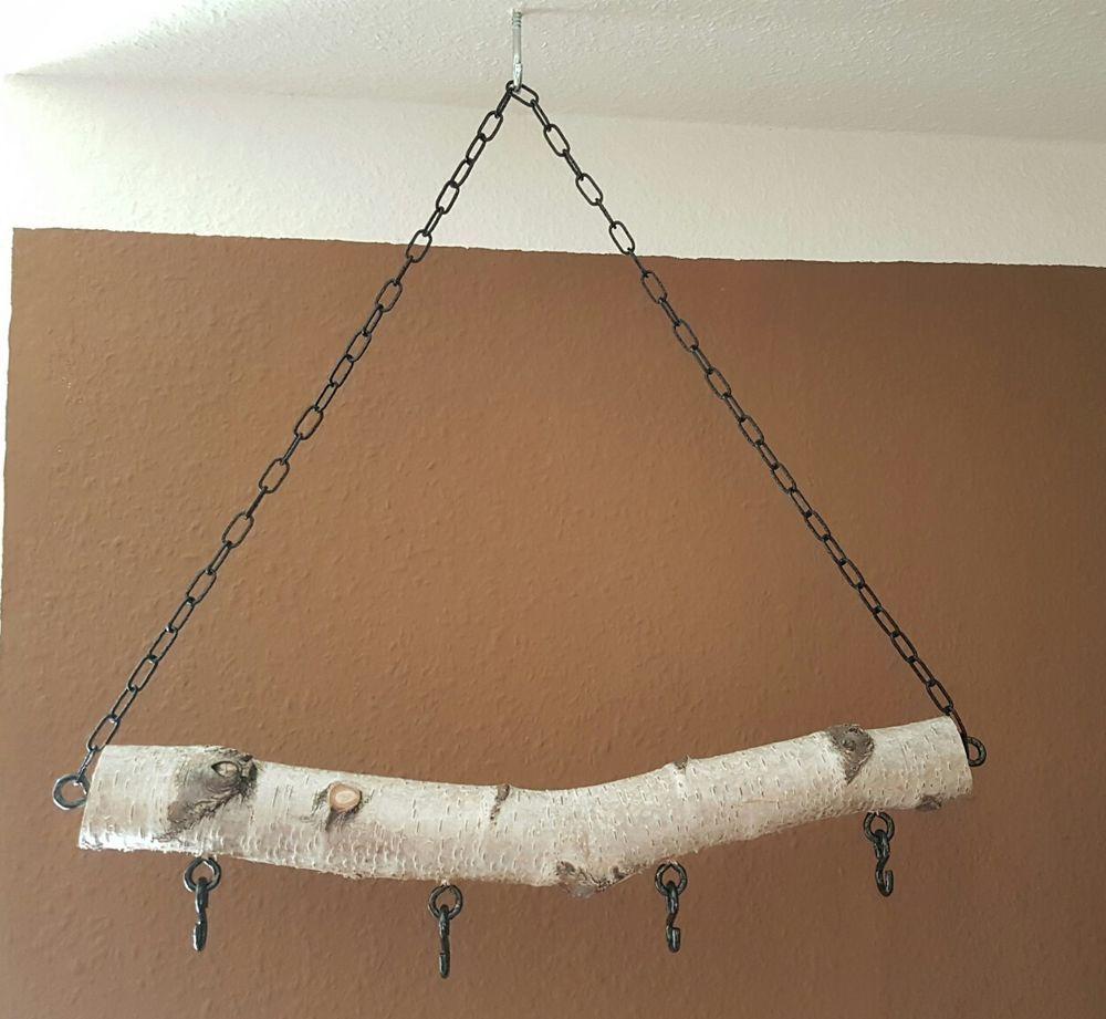 deko birken ast birkenstamm holz h nger deckendeko wanddeko mit haken kette 45cm in m bel. Black Bedroom Furniture Sets. Home Design Ideas