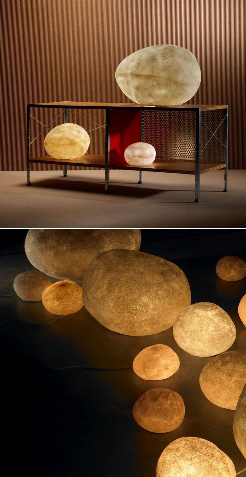 Andre Cazenave Luminous Moon Rock Lamps Lampe En Papier