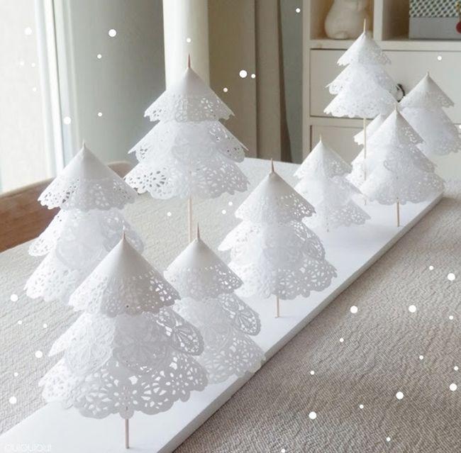 Cómo hacer originales arboles de Navidad con papel de pastelería