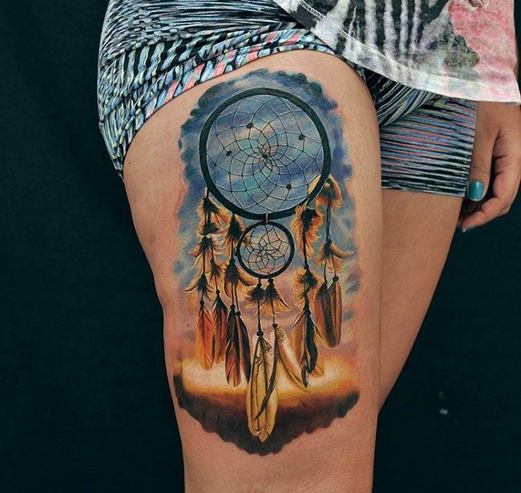 Pretty Dreamcatcher Girls Thigh Piece | Best tattoo ideas ...