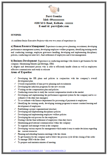 MBA HR Resume Format Download Page 1 Career Pinterest