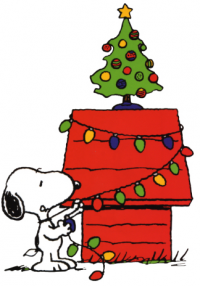 snoopy decorates tree with christmas lights clipart image i love