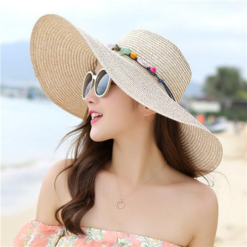 3605a1b8033d01 2018 hot big brim sun hats for woman foldable colorful stone hand made straw  hat female casual shade hat summer hat beach cap #sunhat #strawhat  #summerhat # ...