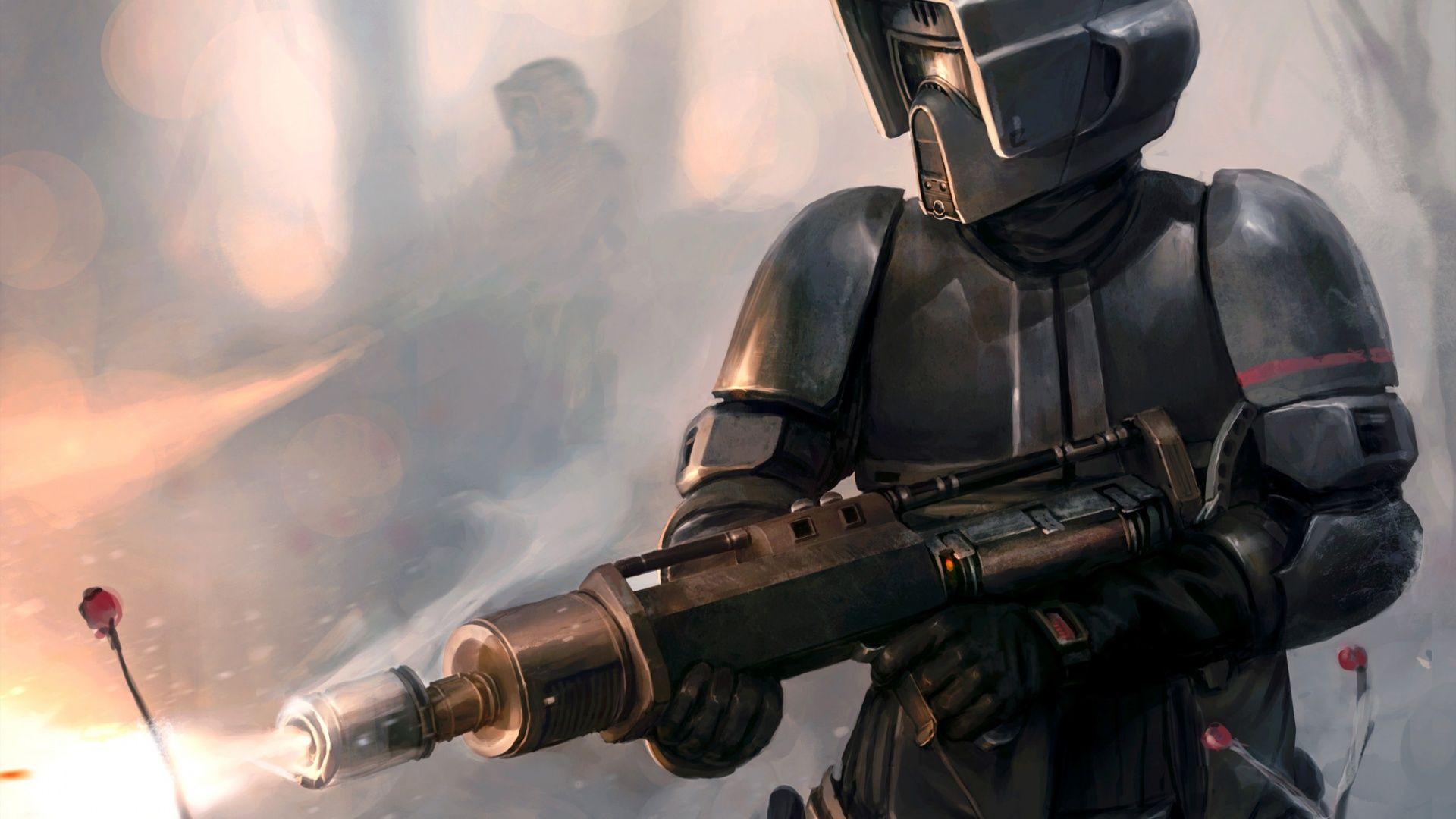 Скачать обои Scout Trooper, Flamethrower, Star Wars, Art, раздел фантастика в разрешении 1920x1080