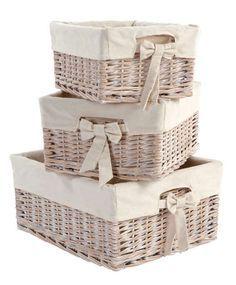 Jennifer Stano Bedding Baby Storage Baskets Set Of 3 In White Wash Nursery