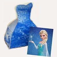 Elsa de Frozen: Caja con Forma de Vestido para Imprimir Gratis.