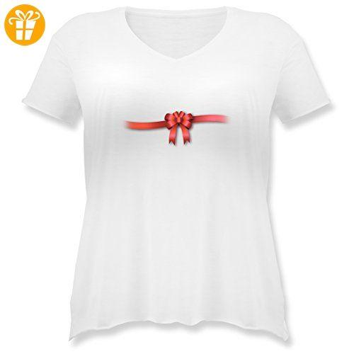 Valentinstag - Ich bin ein Geschenk - Schleife - M (46) - Weiß - JHK603 - Weit geschnittenes Damen Shirt in großen Größen mit V-Ausschnitt - Shirts zum 18 geburtstag (*Partner-Link)