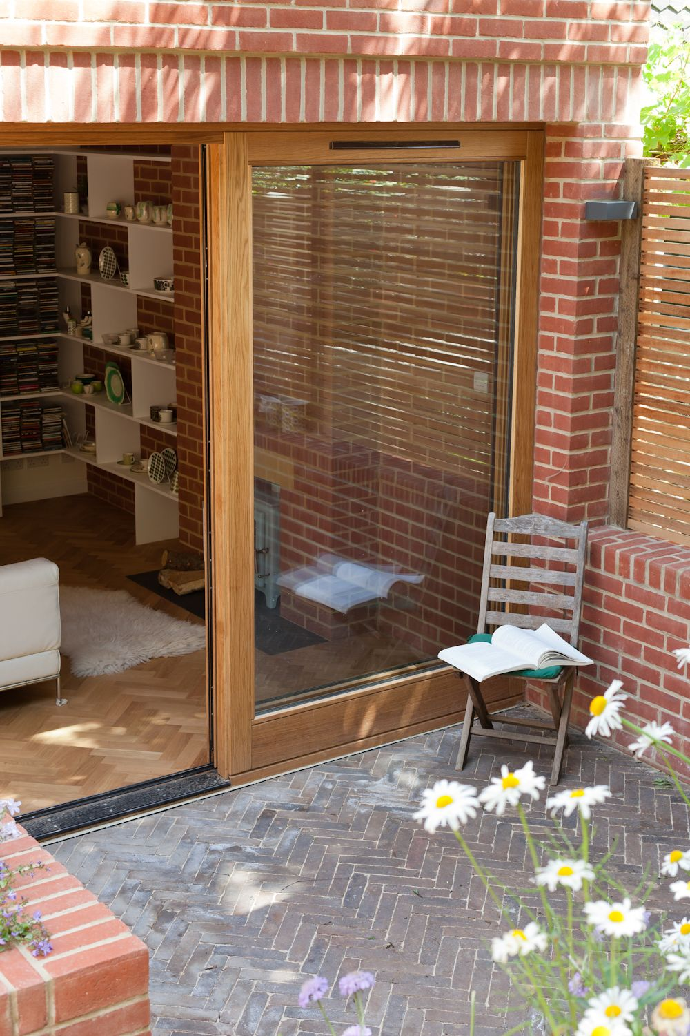 large sliding oak door internal and external brickwork brick herringbone patio and internal oak: large sliding patio doors