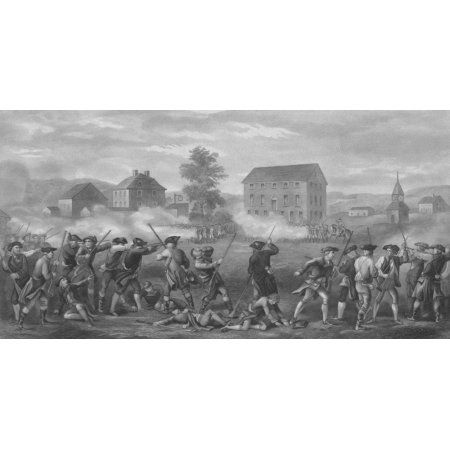 Revolutionary War print of American minutemen being fired upon by British troops Canvas Art - John ParrotStocktrek Images (20 x 10)