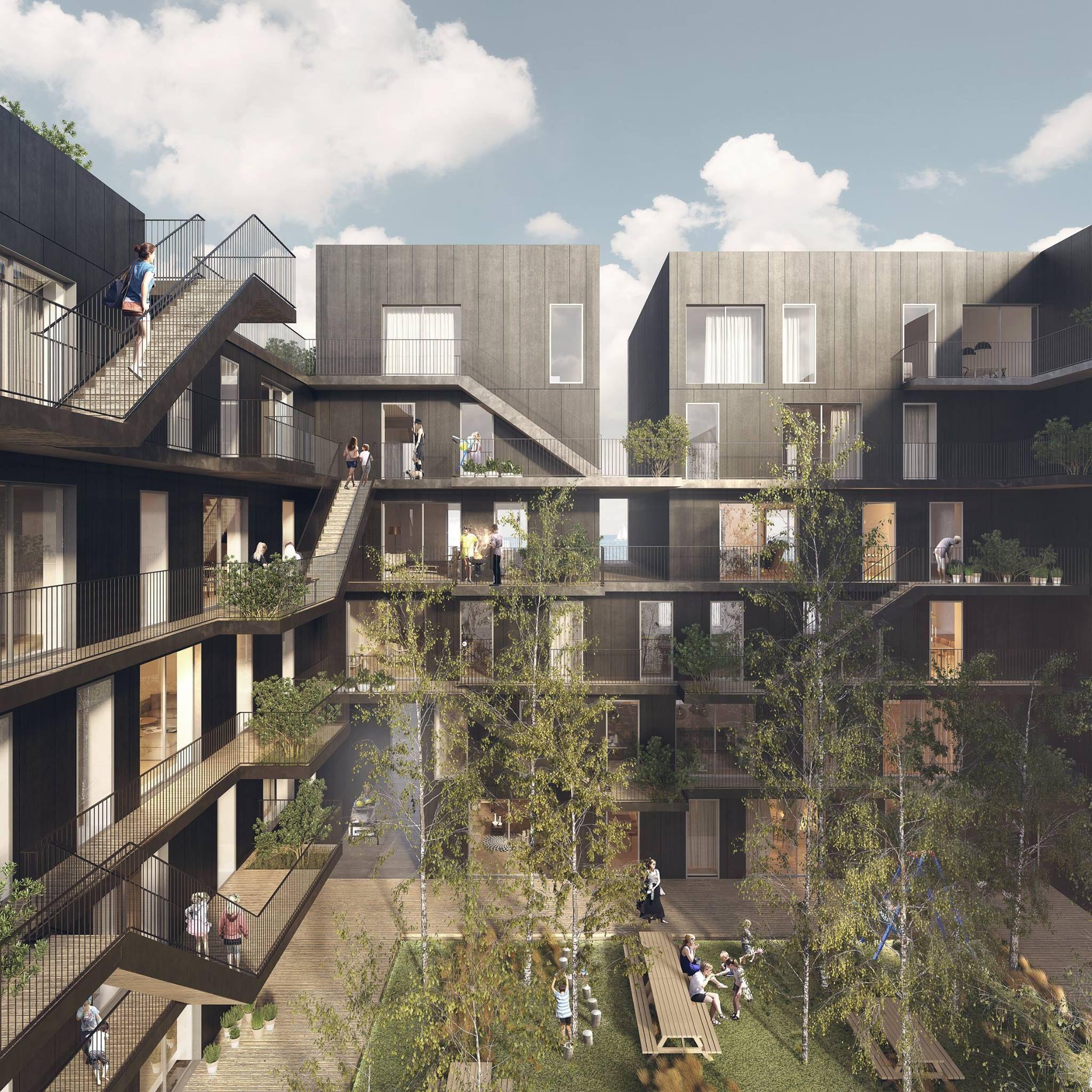Innenhof In Sozialem Wohnungsbau