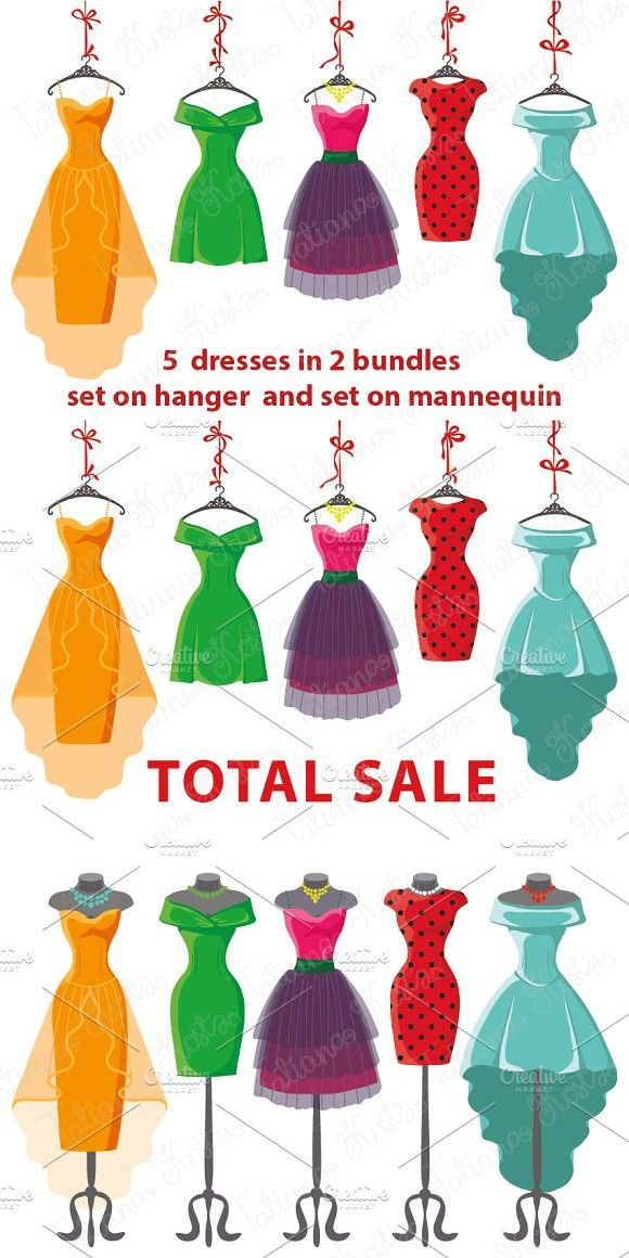 5 colored women's dresses. Vector Dresses, Colorful