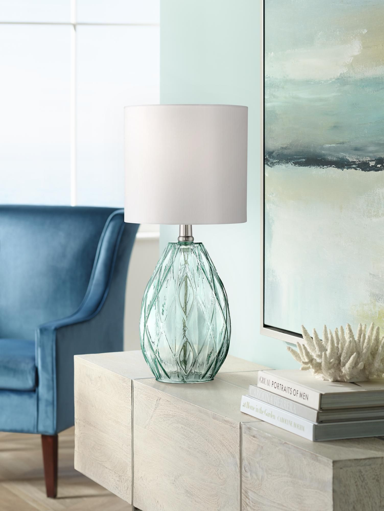 Rita Blue Green Glass Accent Table Lamp   #1K747 | Lamps Plus