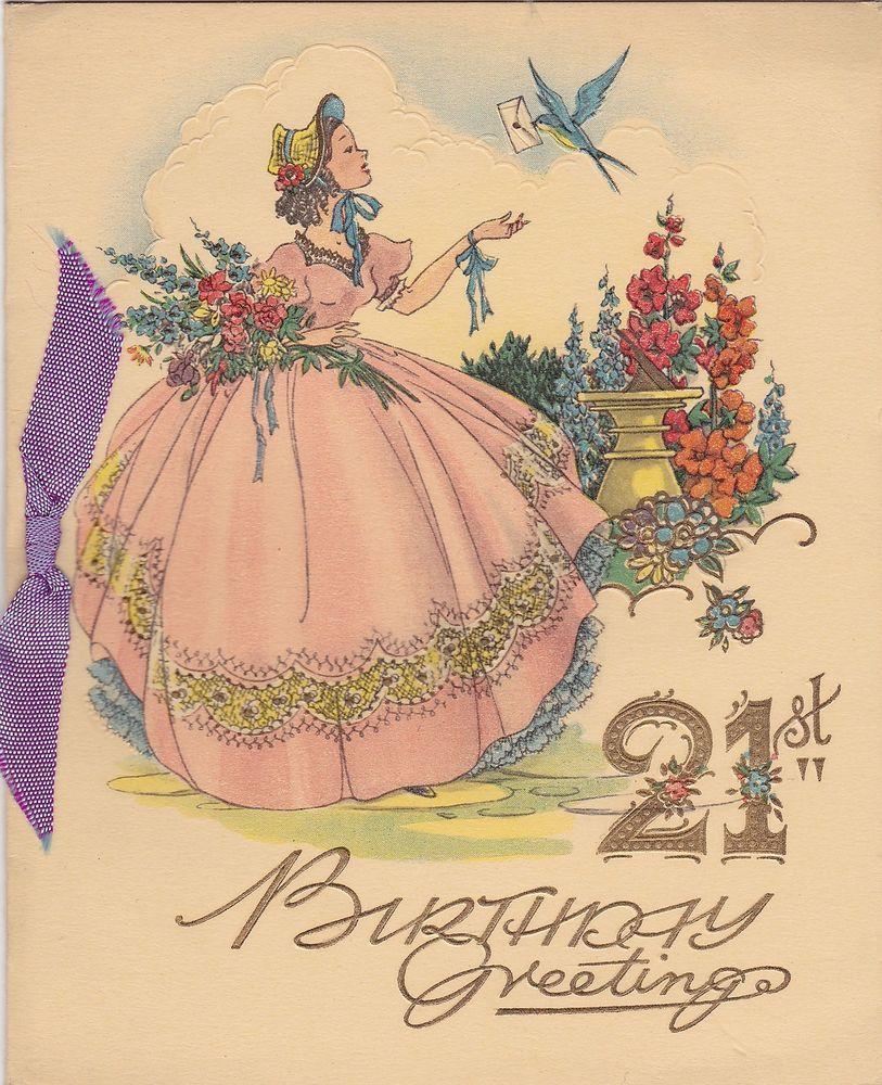 Beautiful Vintage 21st Birthday Card Crinoline Lady Embossed Bluebird Vintage Birthday Cards 21st Birthday Cards Vintage Greeting Cards