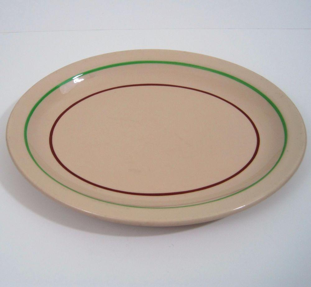 Trenton China Oval Plate Platter Tan Green Red Stripe Restaurant Ware Made USA & Trenton China Oval Plate Platter Tan Green Red Stripe Restaurant ...