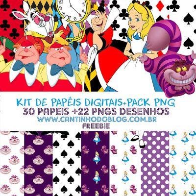 Kit De Papeis Digitais Alice No Pais Das Maravilhas Pack Png