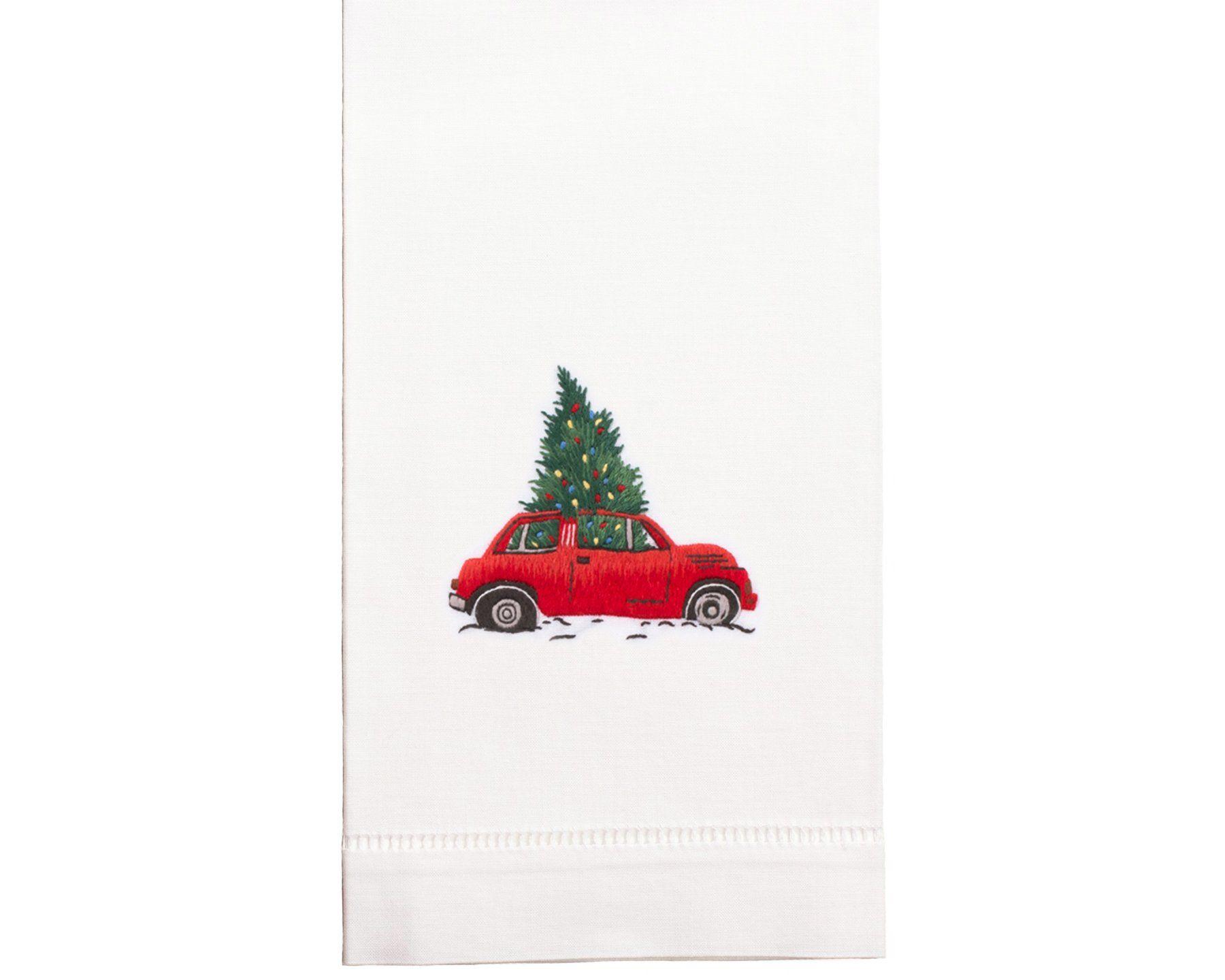 Hand Embroidered Christmas Towel - No thank you