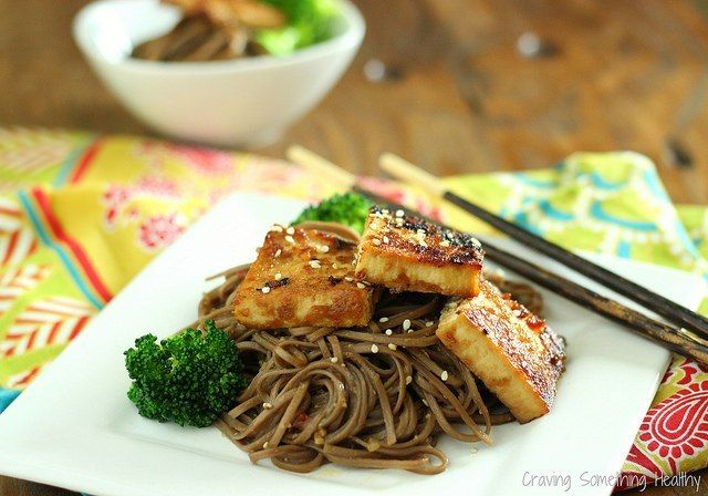 Maple Miso Tofu with Broccoli and Soba Noodles