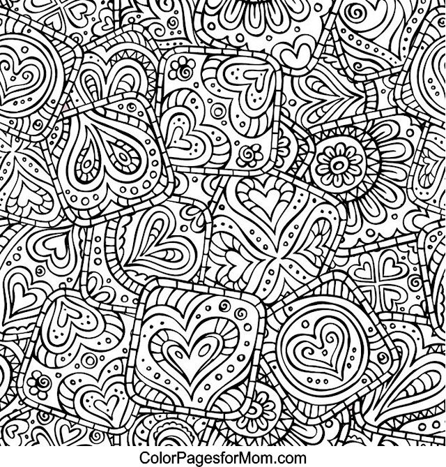 Hearts Abstract Doodle Zentangle ZenDoodle Paisley Coloring pages ...