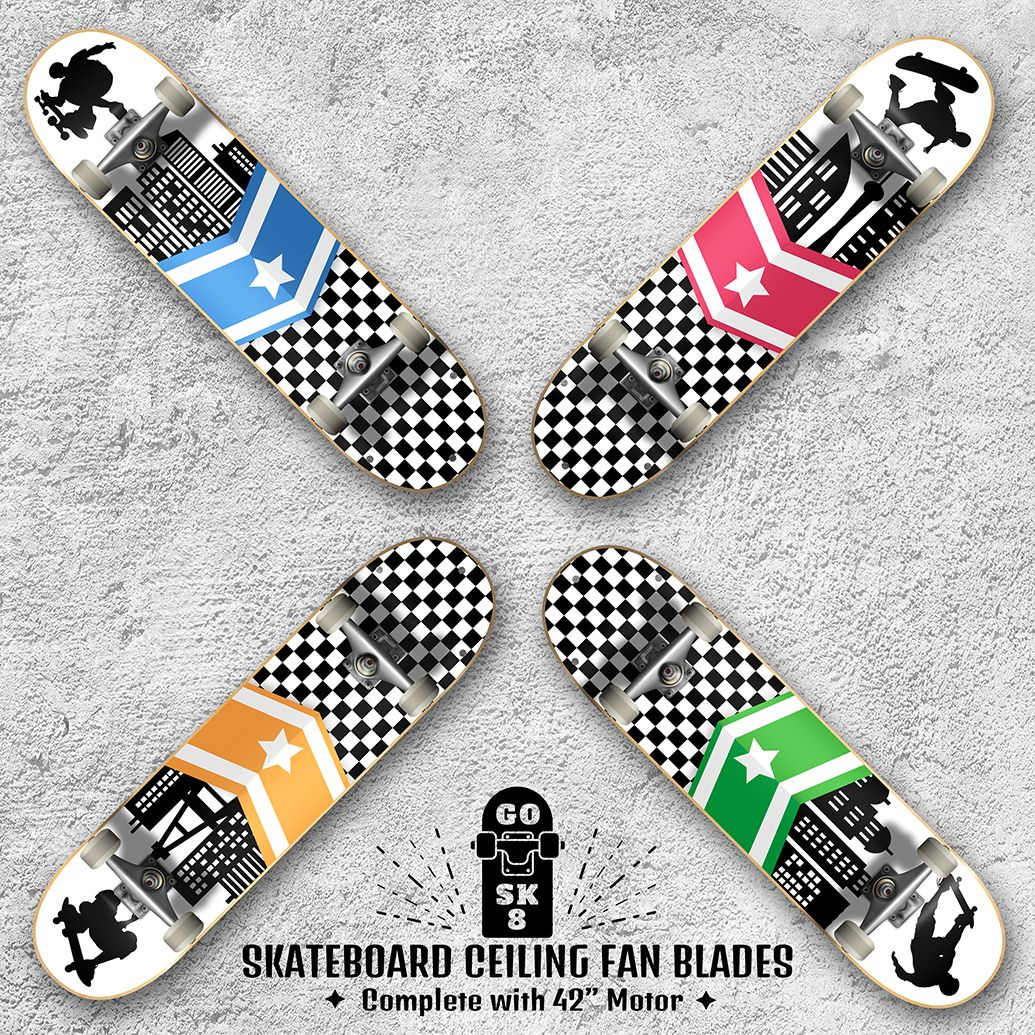 Skateboard Ceiling Fan Blades Motor