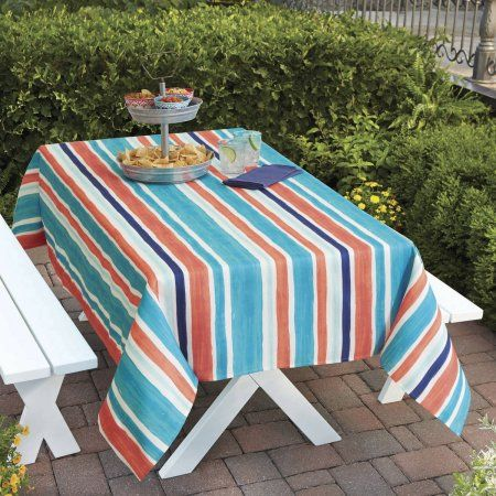 Better Homes And Gardens Multi Stripe Tablecloth 60 Inch X 102 Inch Multicolor Better Homes Gardens Table Cloth Striped Tablecloths