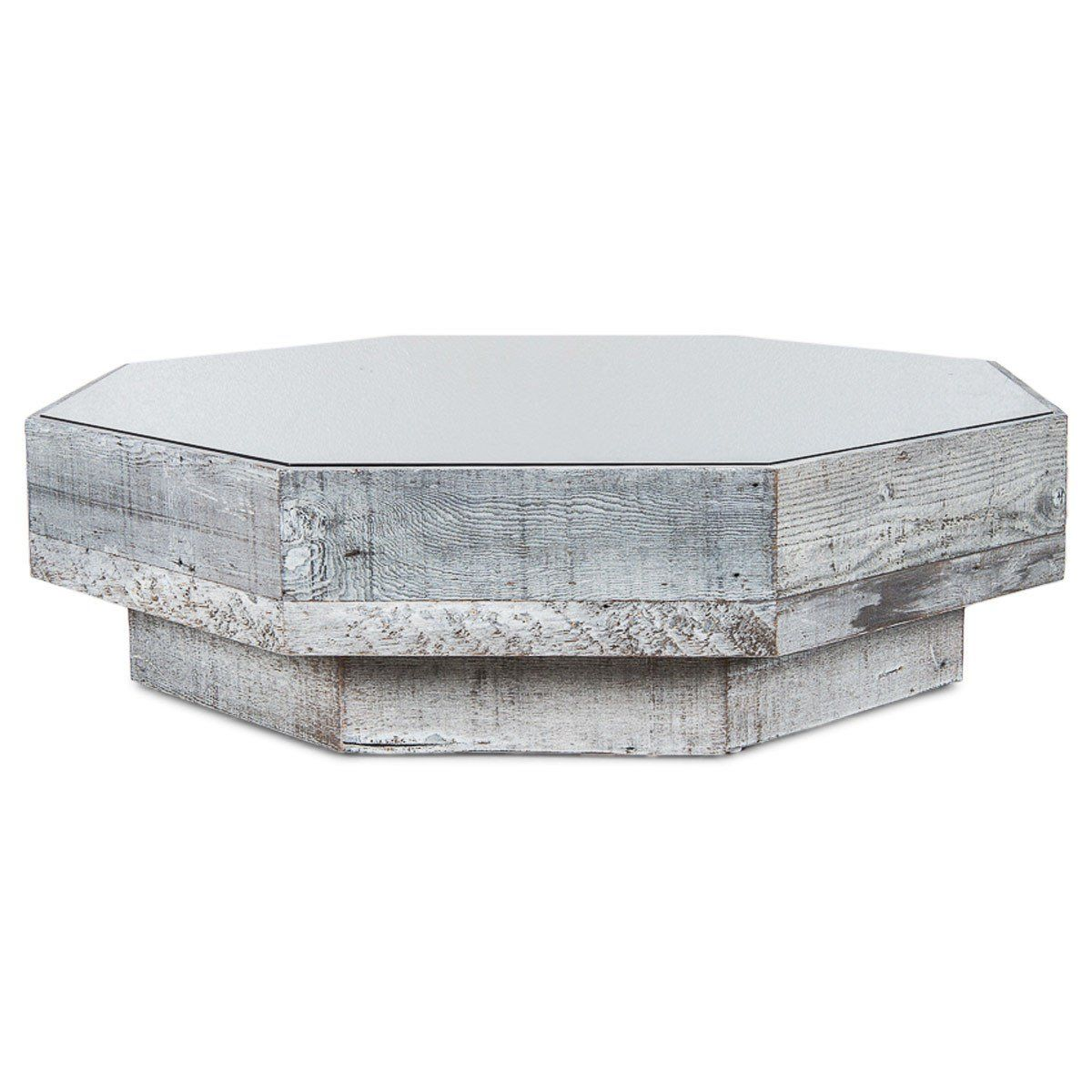 Recycled Wood Grey Glass Octagon Coffee Table Wood Bar Top Recycled Wood Wood Bars