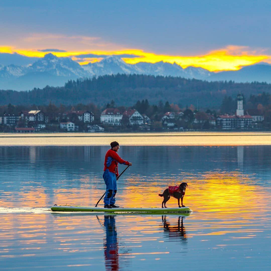 Sunset at the Lake 😄🐕🌤💫❤🤙 Sunset at the Lake 😄🐕🌤💫❤🤙SUP with dog .