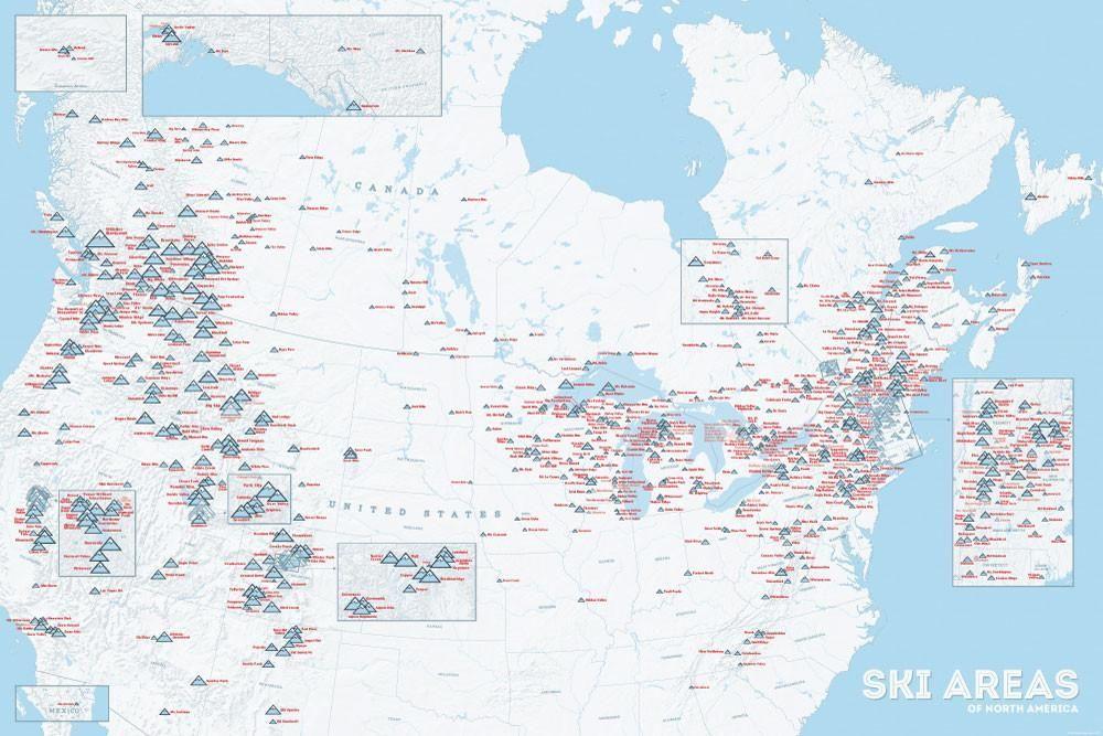 Map Of Canada Ski Resorts North America Ski Resorts Map 24x36 Poster | Ski resort, North