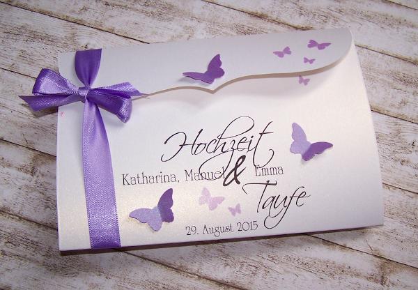 Einladung Hochzeit U0026 Taufe Flieder Bogenkarte Gross