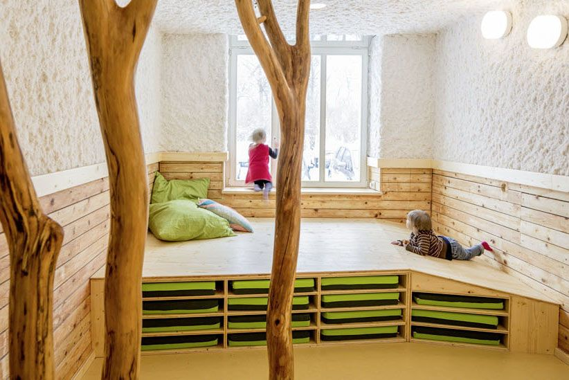Nature Inspired Day Care Interior By Baukind Kindergarten Interior Kindergarten Design Interior