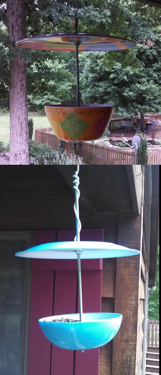 Bird feeders made from plastic plate and bowl from grocery, 99 cents ...