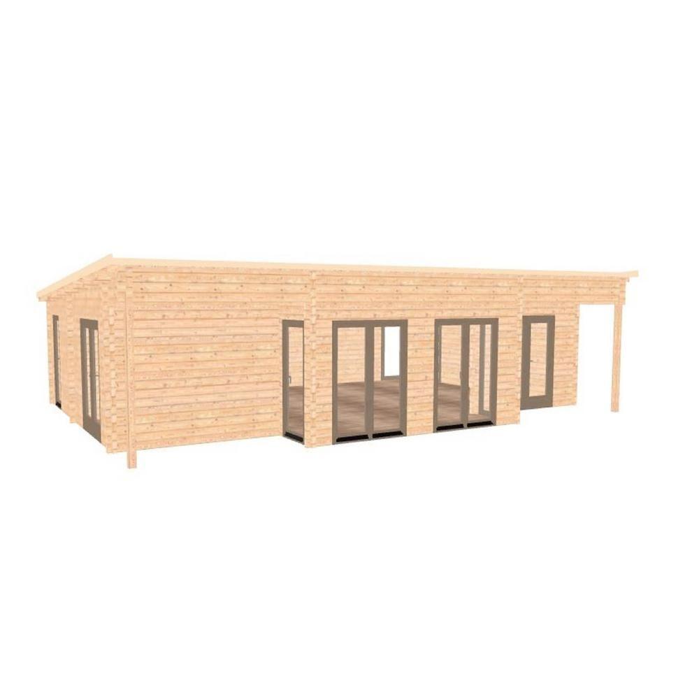 Hud 1 EZ Buildings Nordic J68 692 sq ft Log Cabin Pool Garden House D I Y Building Kit Beige Cream