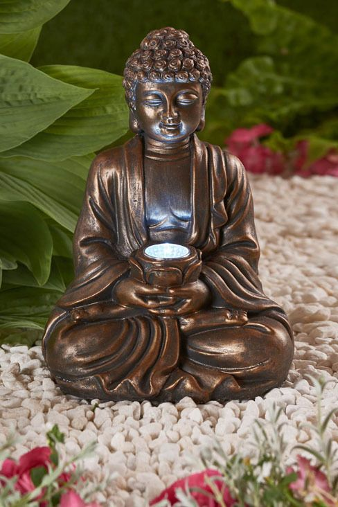 Garden Ornament sitting Buddha Solar powered light up large outdoor indoor