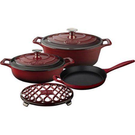 La Cuisine PRO 6-Piece Enameled Cast Iron Cookware Set, Oval Casserole/Trivet, Red