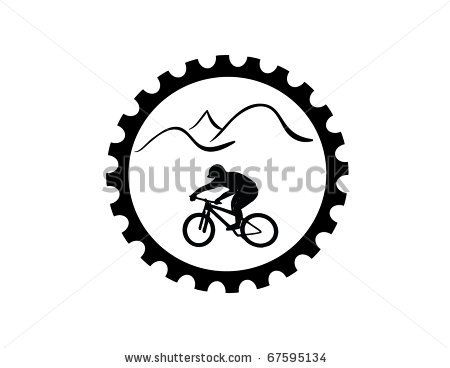 Bike Riding Clip Art | Bicycle Gear With Mountain Bike Rider Stock ...