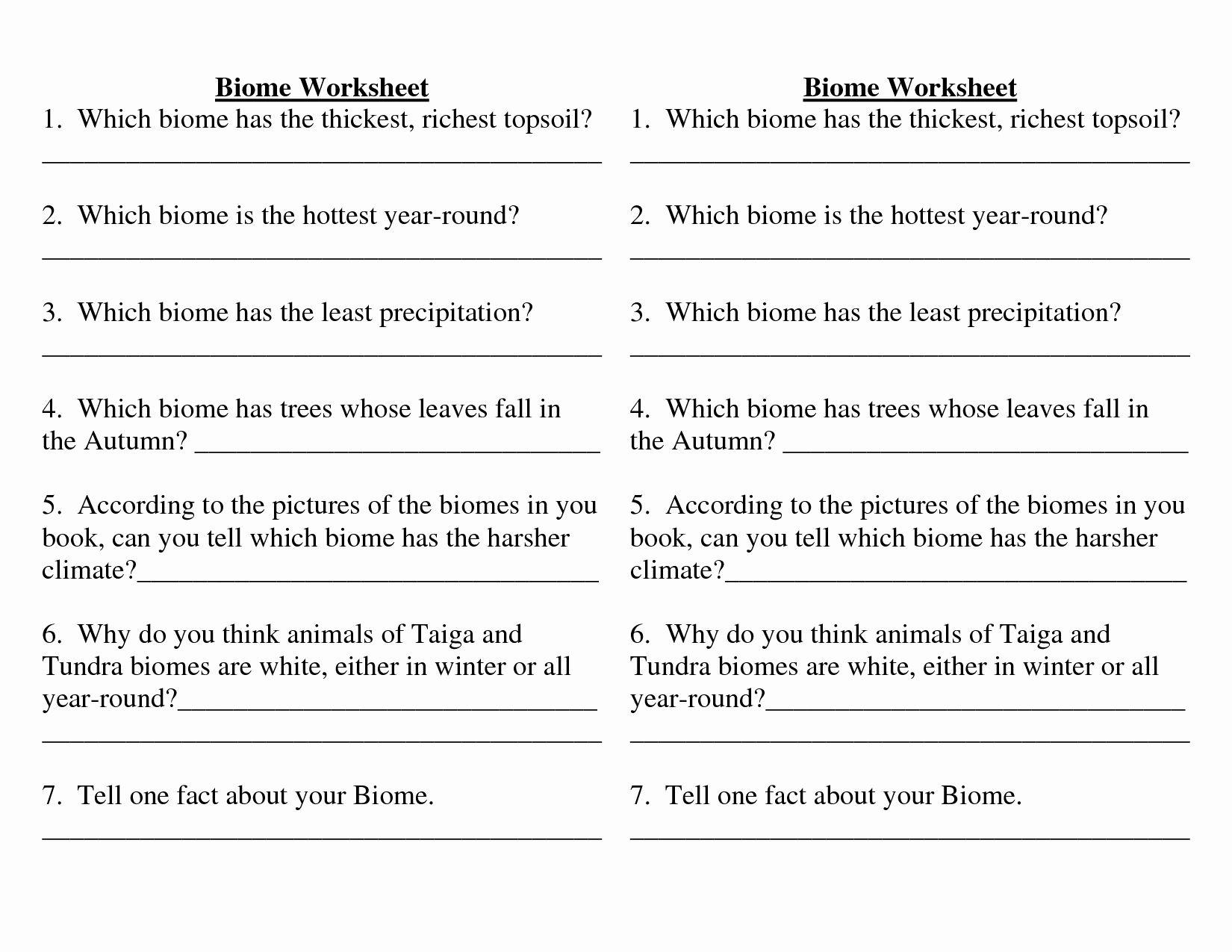 4 4 Biomes Worksheet Answers Fresh Biome Worksheets High