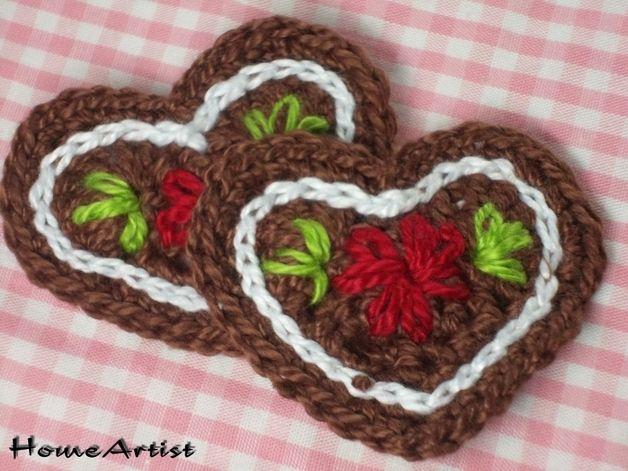 Häkel Lebkuchen Lebkucheherz Herz Farbwahl Crochet