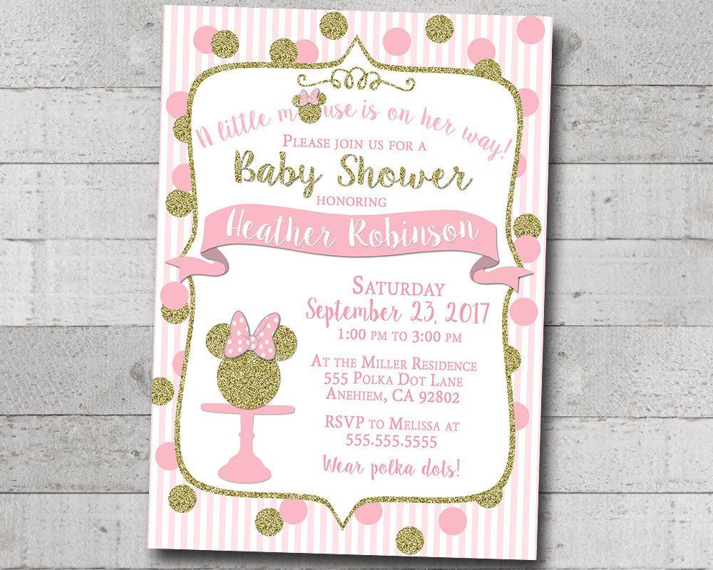 Lady Child Bathe Invitation Minnie Mouse Pink Gold Glitter Polka Dot ...