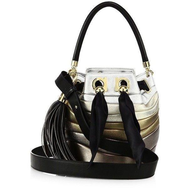Salvatore Ferragamo Mini Striped Leather Bucket Bag (31.335 ARS) ❤ liked on Polyvore featuring bags, handbags, shoulder bags, apparel & accessories, moon, mini bucket bag, leather purse, genuine leather shoulder bag, drawstring bucket bag and white handbags